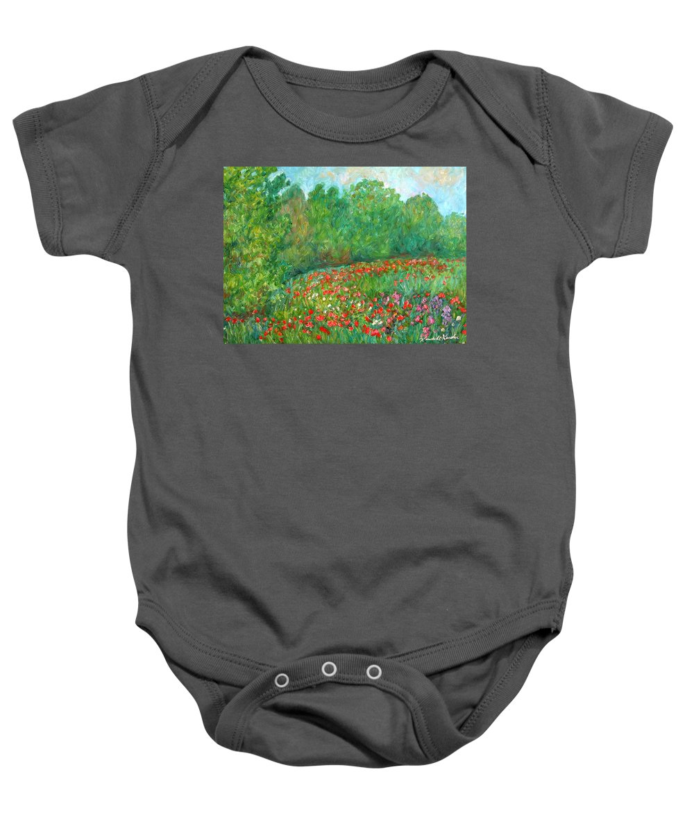 Blue Ridge Paintings Baby Onesie featuring the painting Flower Field by Kendall Kessler