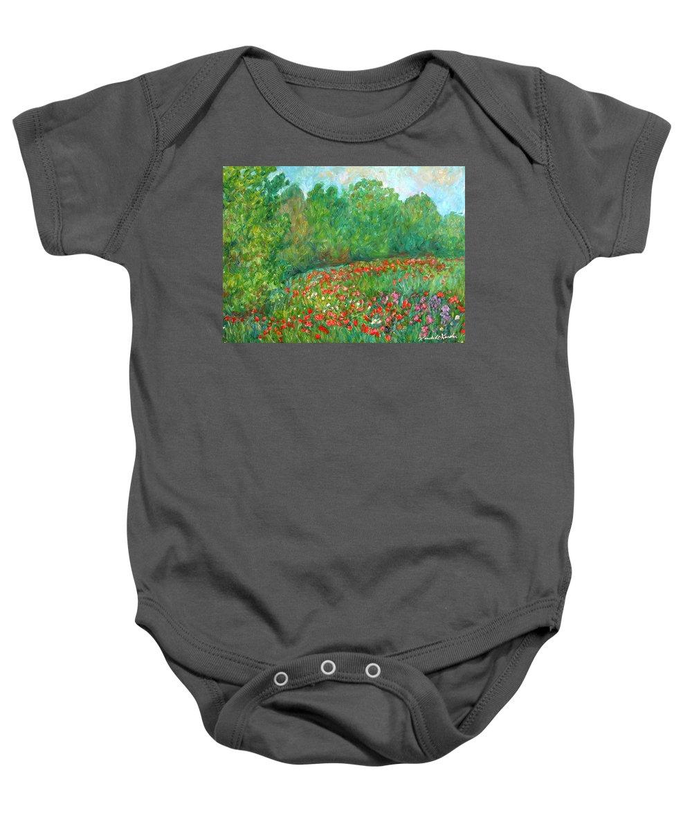 Blue Ridge Paintings Baby Onesie featuring the painting Flower Field by Kendall Kessler