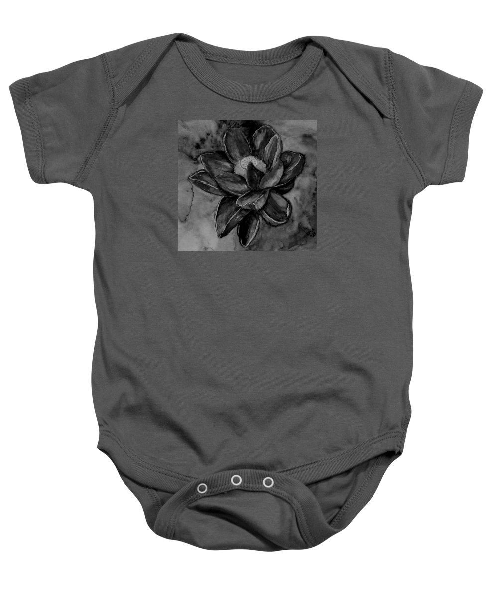 Flower Baby Onesie featuring the painting Flower In Black And White by Kathy Carothers