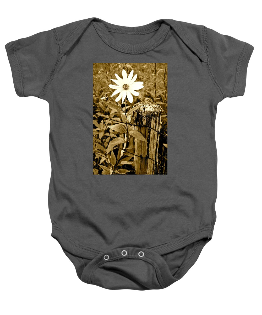 Flower Baby Onesie featuring the photograph Flower In Sepia by Frozen in Time Fine Art Photography