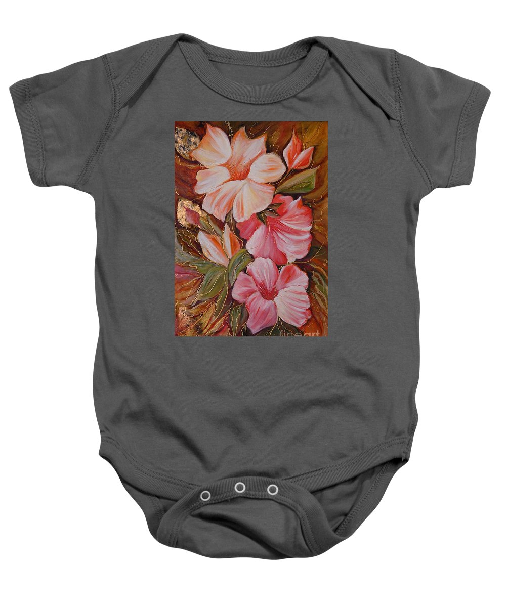 Modern Art Baby Onesie featuring the painting Flowers II by Silvana Abel