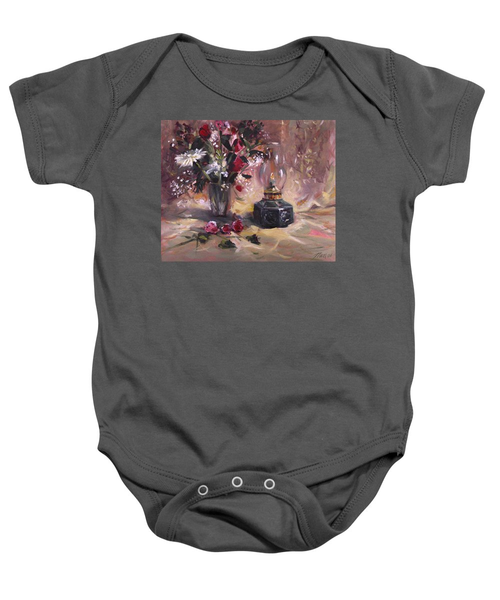 Flowers Baby Onesie featuring the painting Flowers with Lantern by Nancy Griswold
