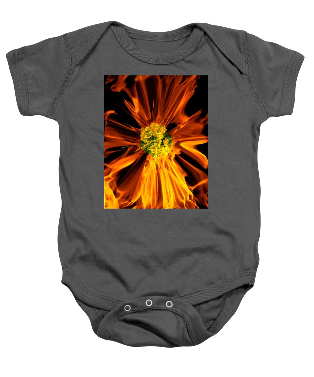 Fire Baby Onesie featuring the photograph Flowery Flames by DigiArt Diaries by Vicky B Fuller