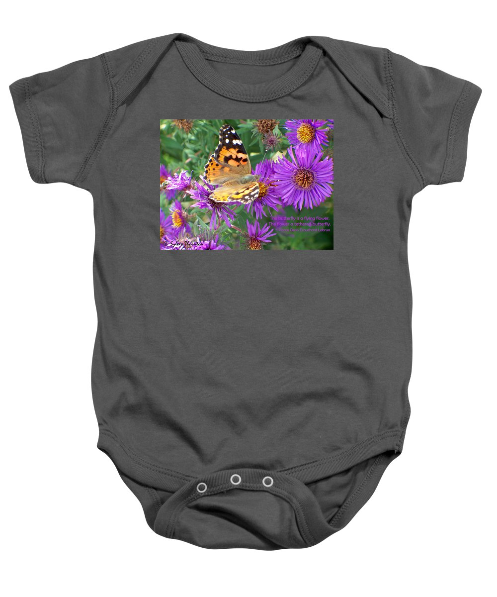 Butterfly Baby Onesie featuring the photograph Flying Flower by Sylvia Thornton