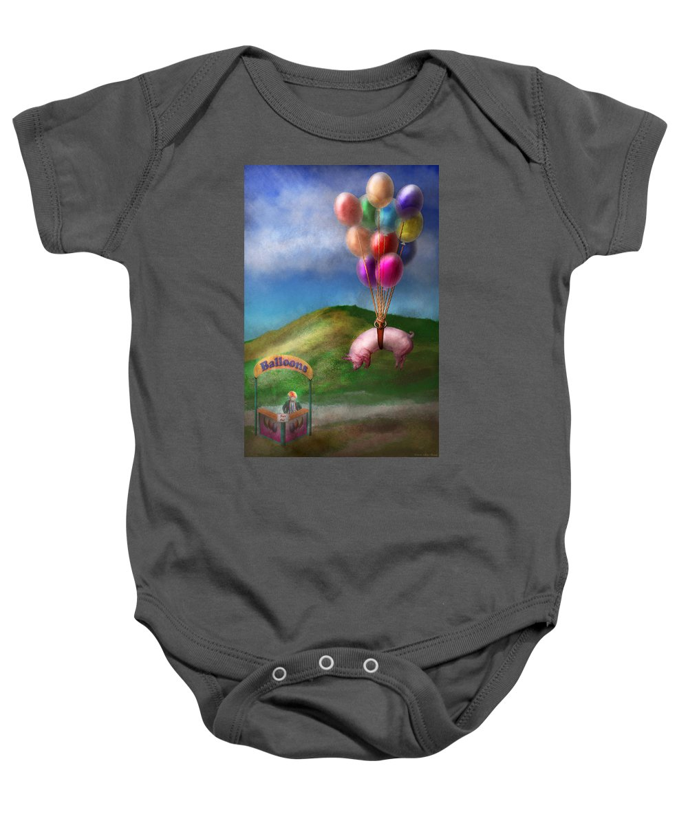 Pig Baby Onesie featuring the photograph Flying Pig - Child - How I Wish I Were A Bird by Mike Savad