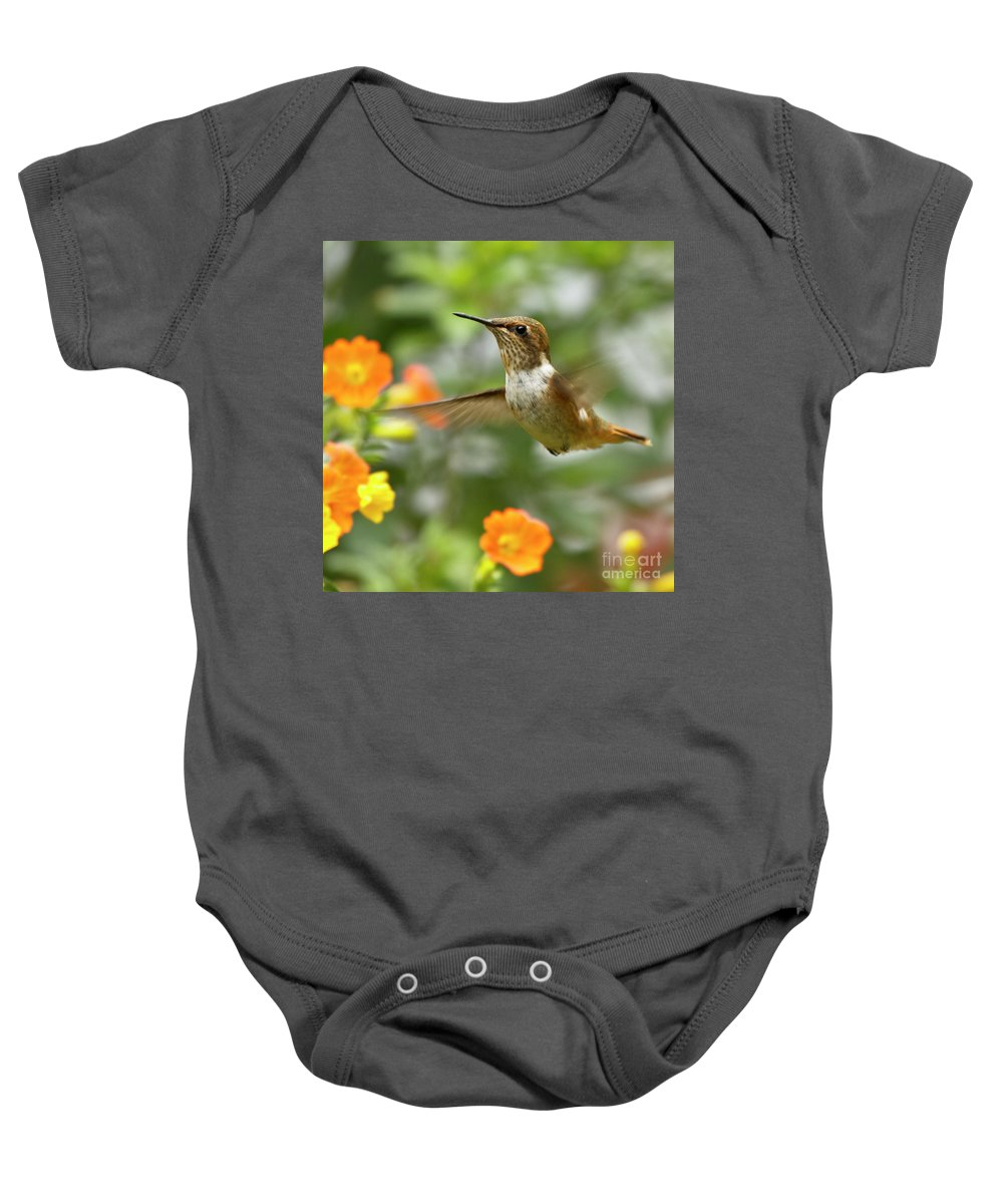 Bird Baby Onesie featuring the photograph Flying Scintillant Hummingbird by Heiko Koehrer-Wagner