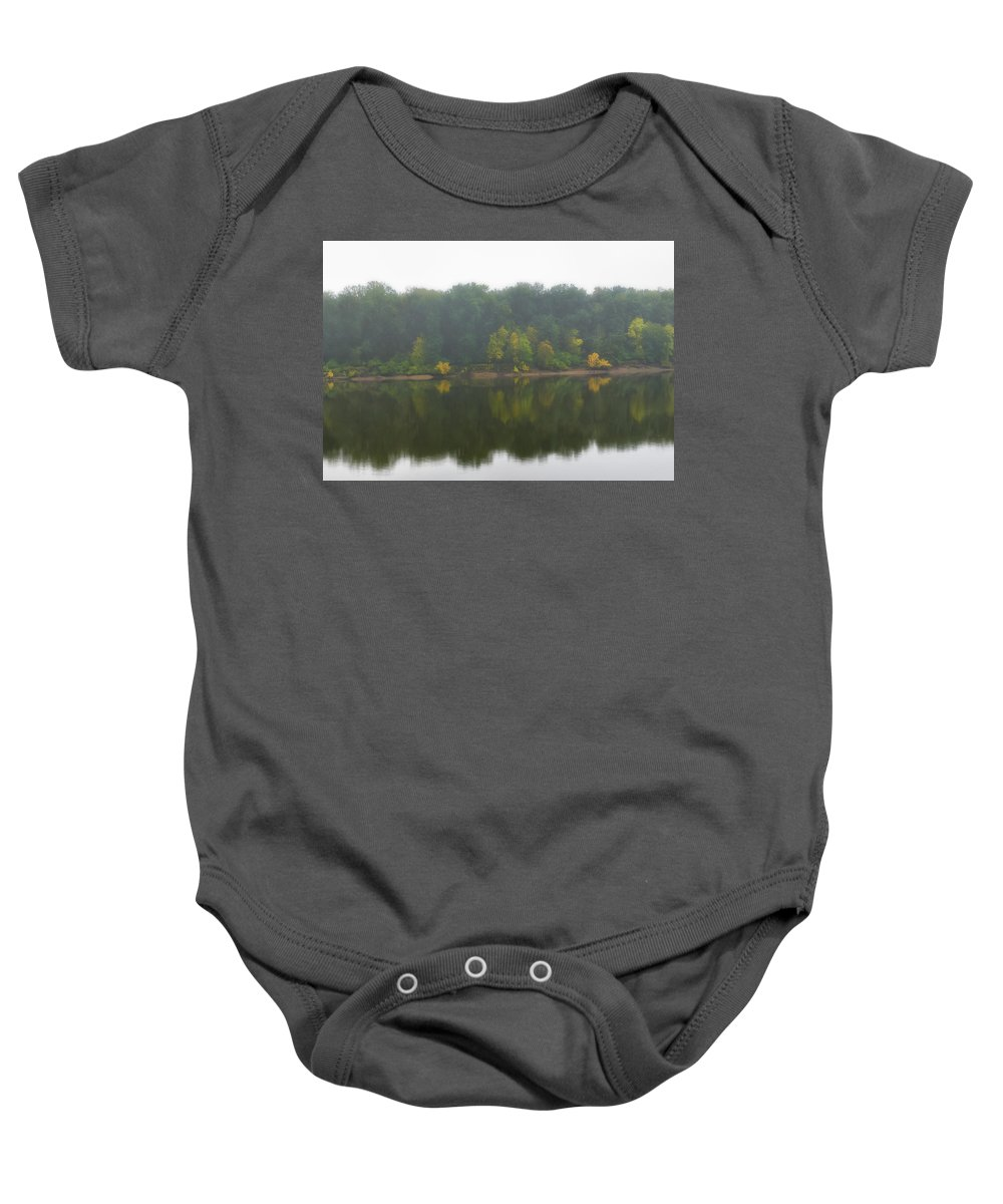 Fog Baby Onesie featuring the photograph Fog Along The River by Dennis Reagan