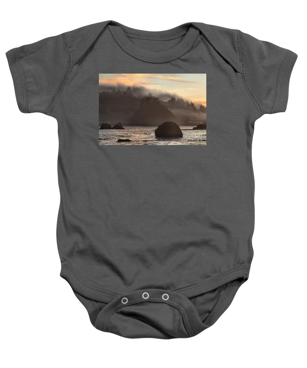 Trinidad State Beach Baby Onesie featuring the photograph Fog Over Trinidad by Adam Jewell