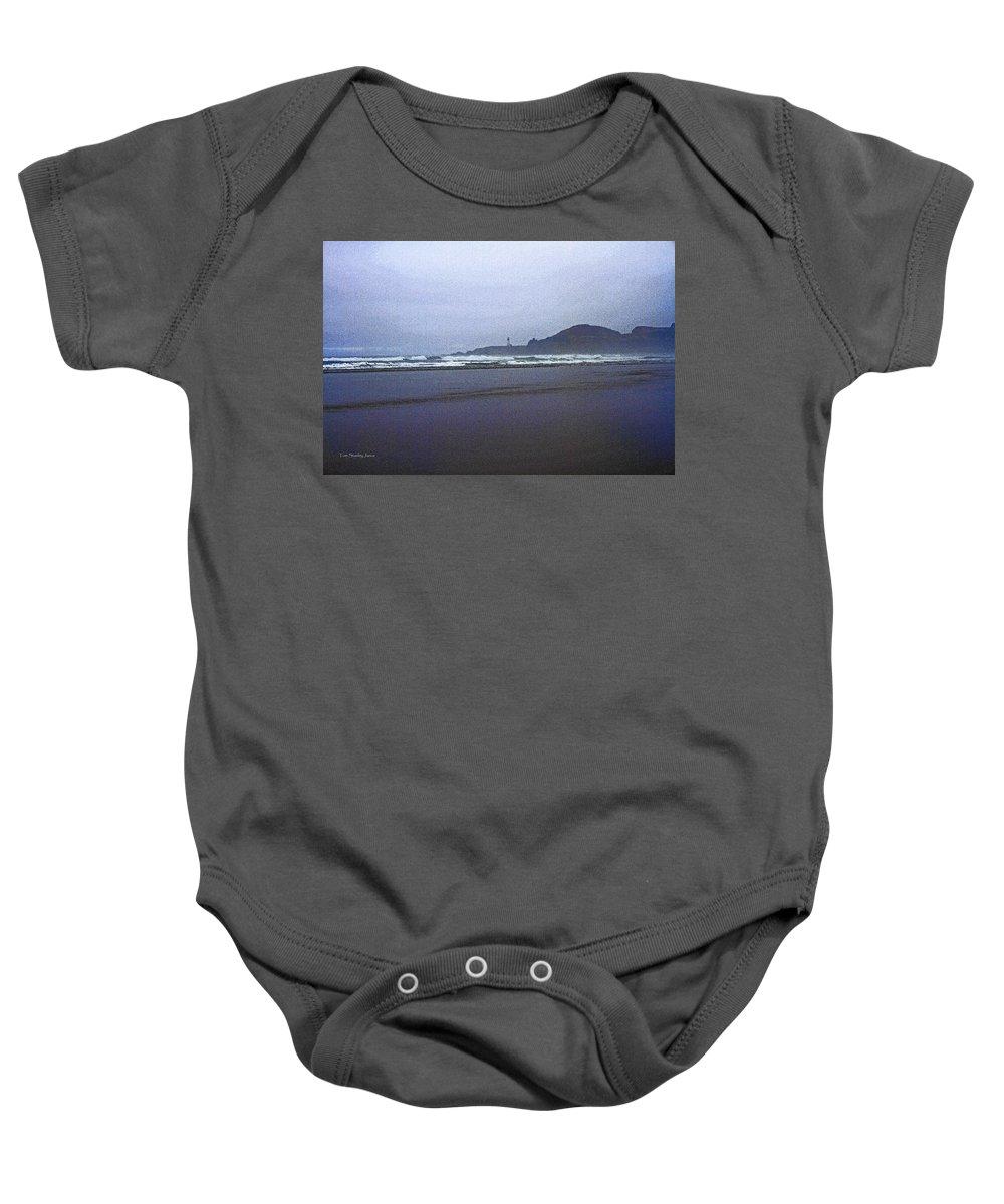 Foggy Beach And Lighthouse Baby Onesie featuring the photograph Foggy Beach And Lighthouse by Tom Janca