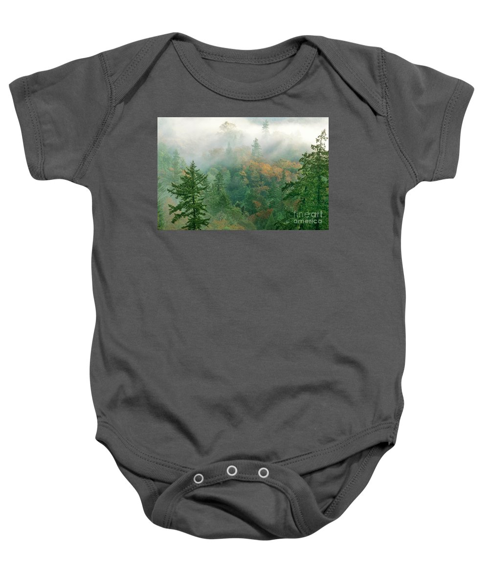 North America Baby Onesie featuring the photograph Foggy Morning In Humbolt County California by Dave Welling