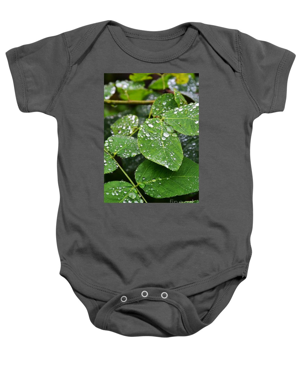 Dew Baby Onesie featuring the photograph Foliageworks 2 by Stephanie Guinn