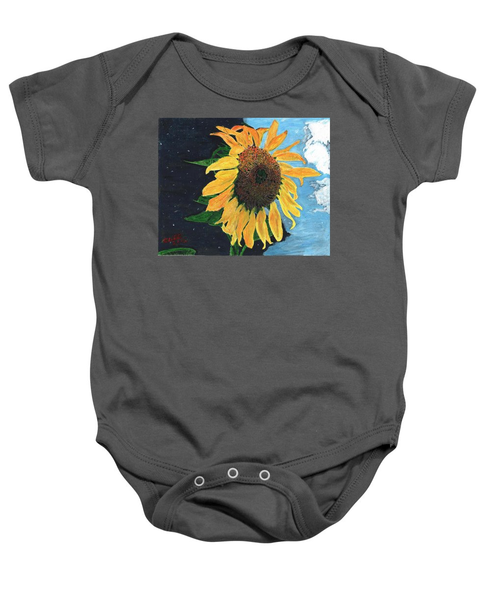 Yellow Baby Onesie featuring the painting Follow The Sun by Cliff Wilson