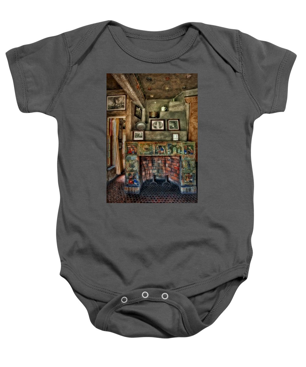 Byzantine Baby Onesie featuring the photograph Fonthill Castle Bedroom Fireplace by Susan Candelario