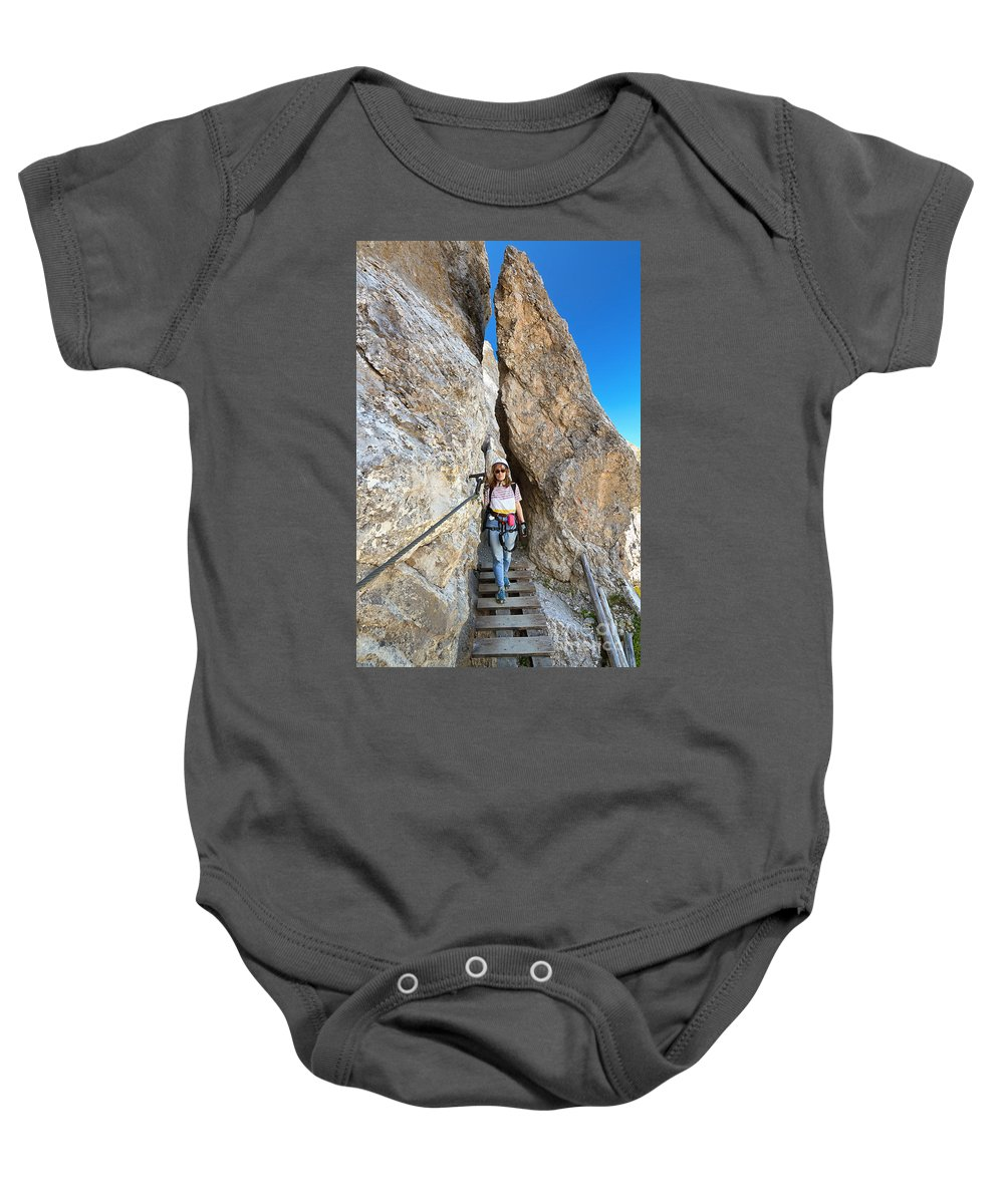 Alpine Baby Onesie featuring the photograph Footbridge On Via Ferrata by Antonio Scarpi