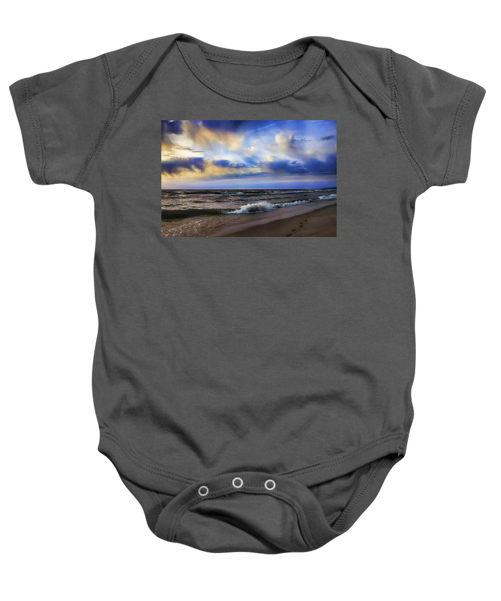 Evie Baby Onesie featuring the photograph Footprints Of A Surfer Saugatuck Michigan by Evie Carrier