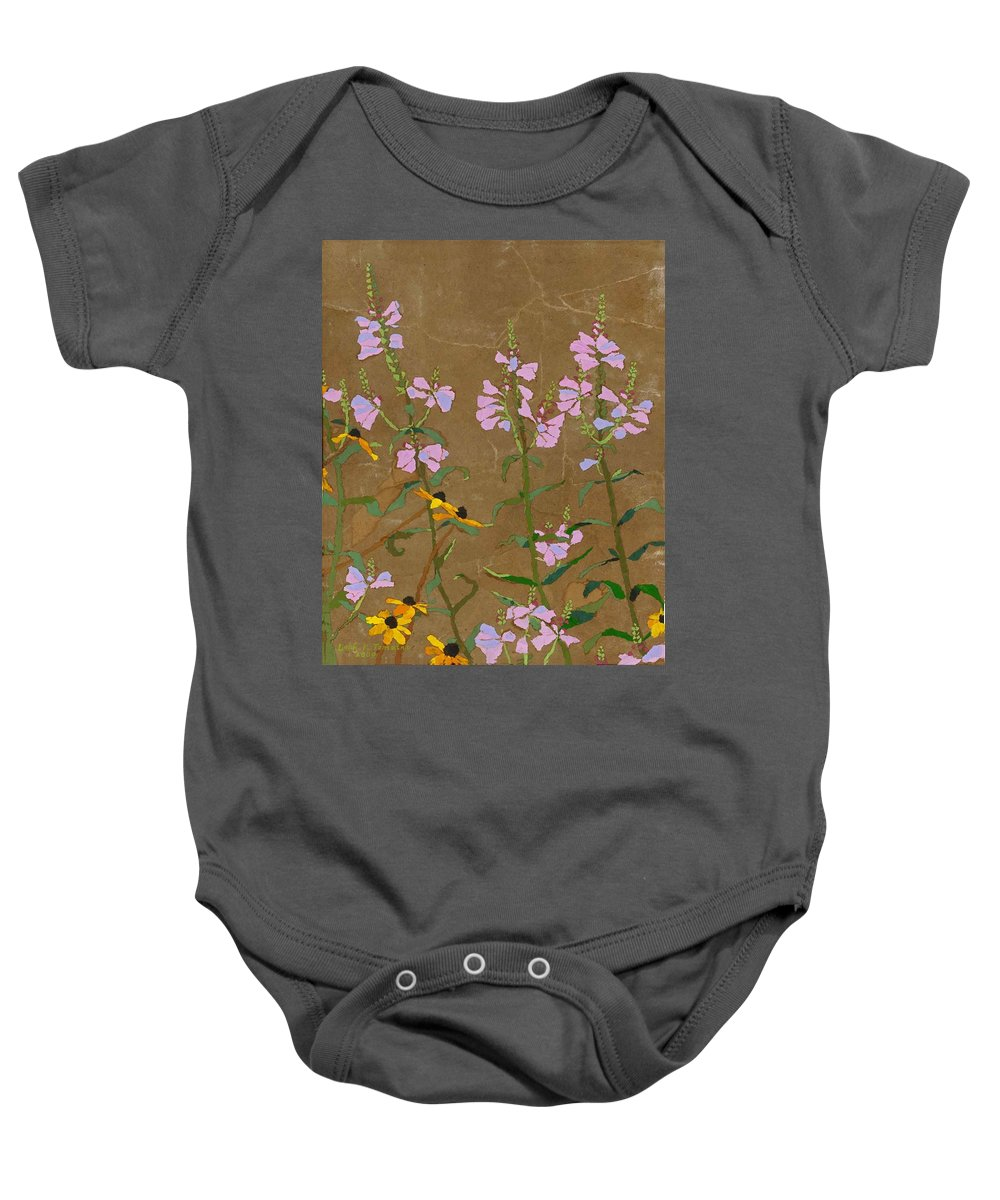 Floral Baby Onesie featuring the painting For Jack From Woodstock by Leah Tomaino