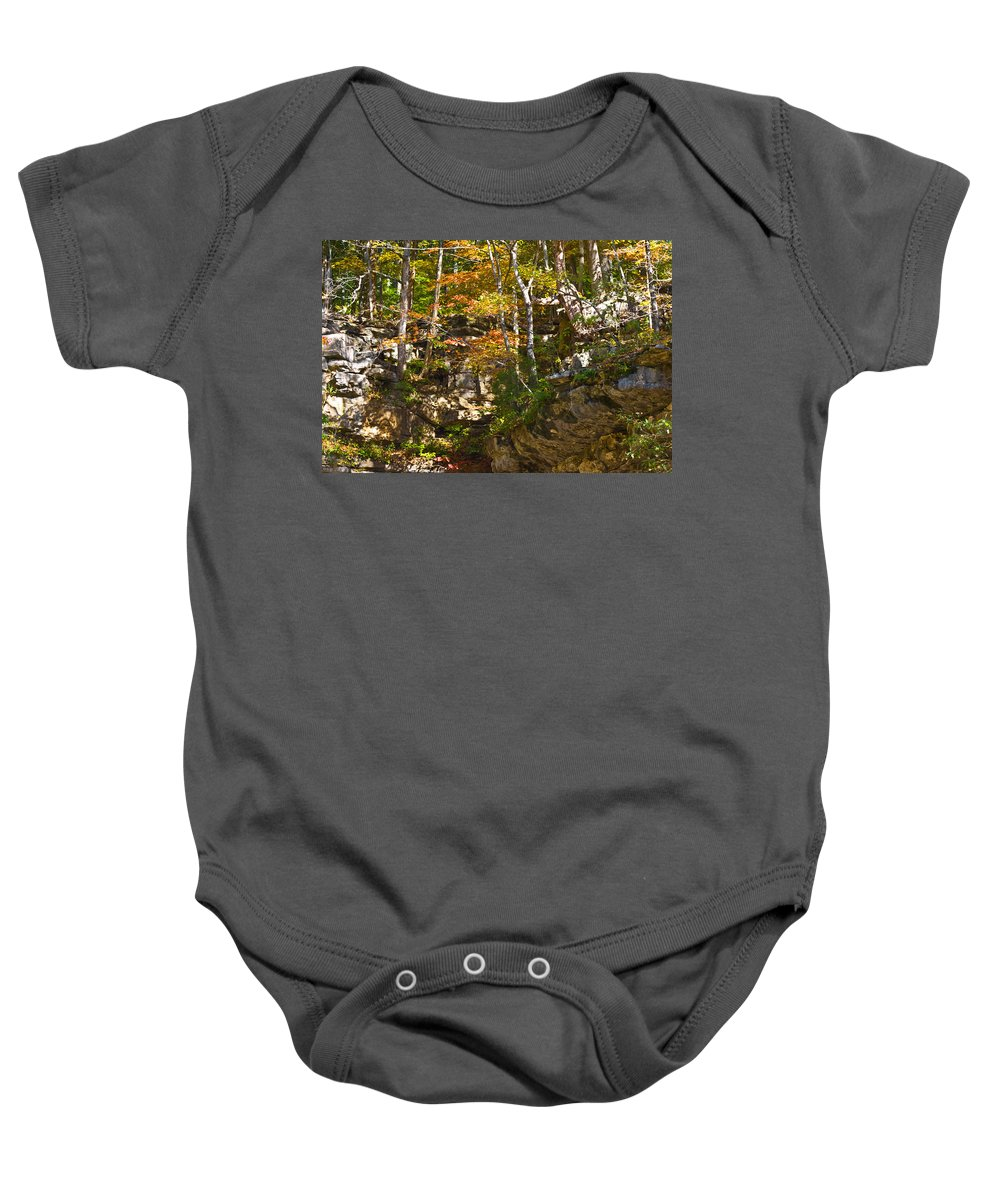 Branches Baby Onesie featuring the photograph Forest Above The Cave by Ed Gleichman
