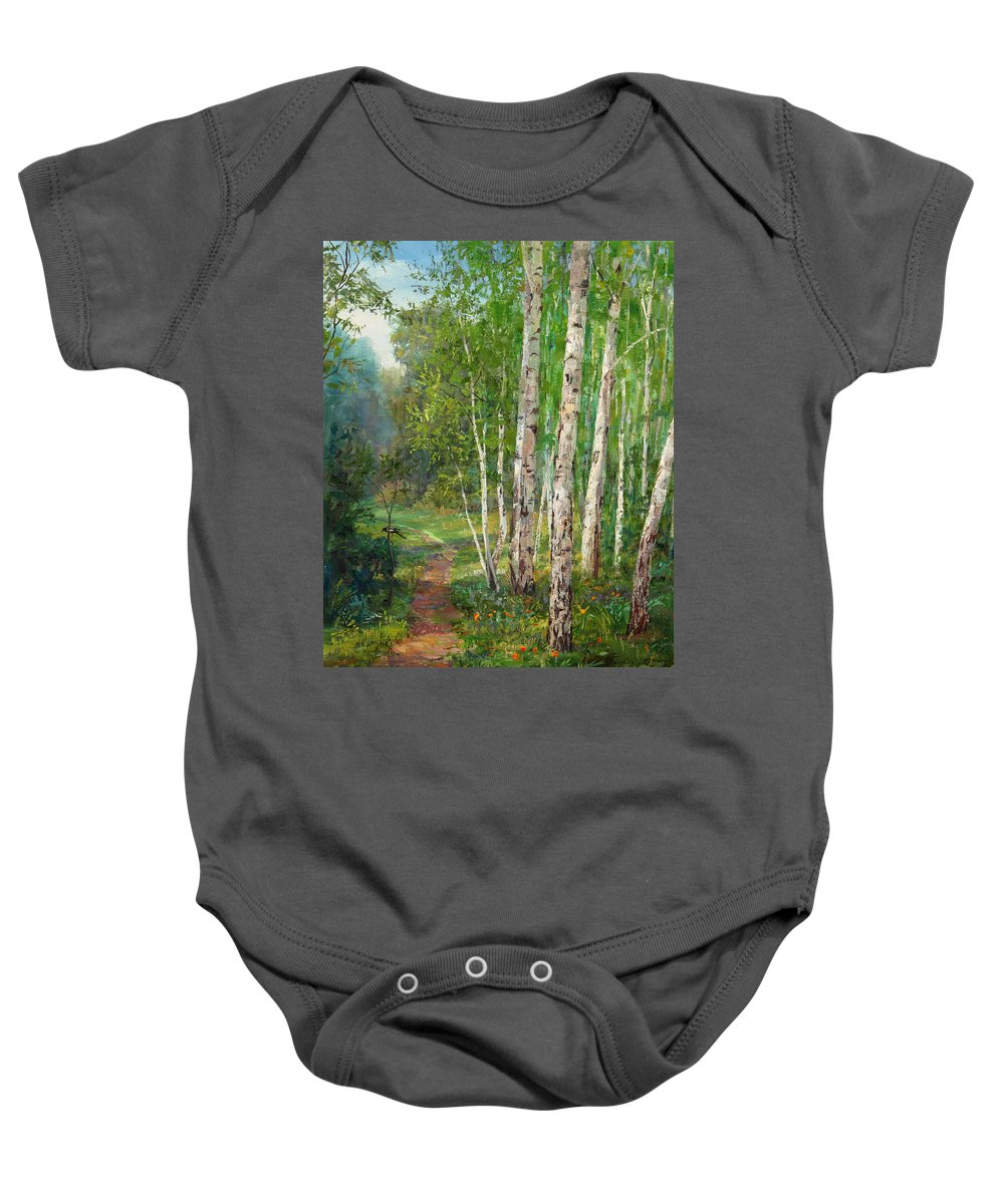 Forest Baby Onesie featuring the painting Russian Forest Footpath by Galina Gladkaya