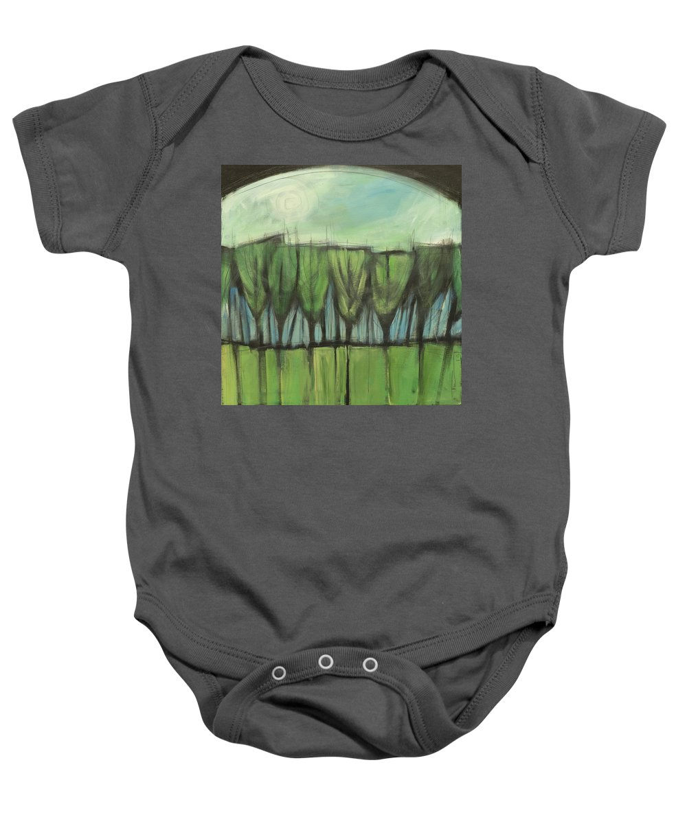 Trees Baby Onesie featuring the painting Forest For The Trees by Tim Nyberg