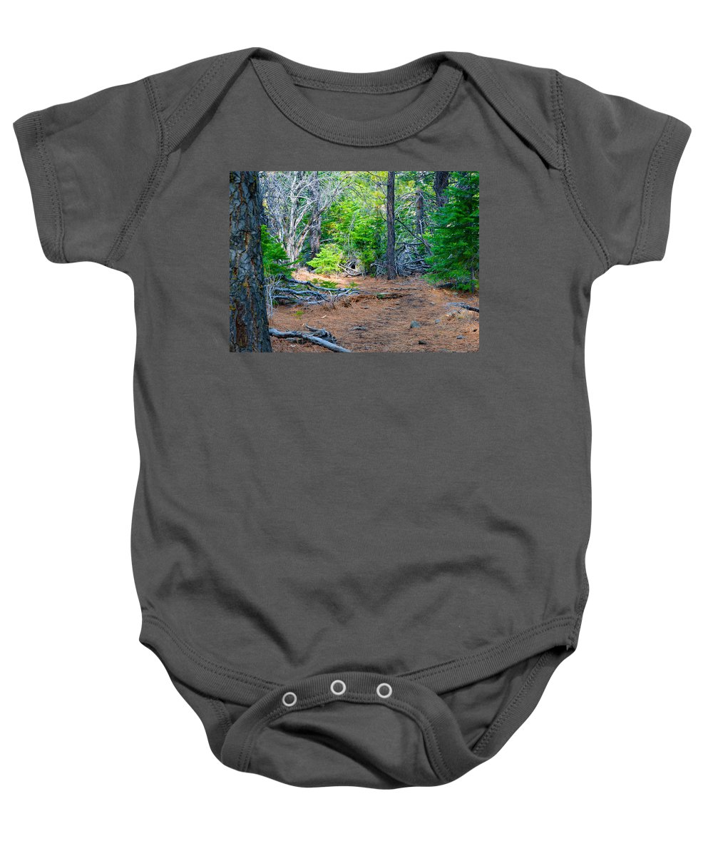 Nevada Baby Onesie featuring the photograph Forest Path by Brent Dolliver