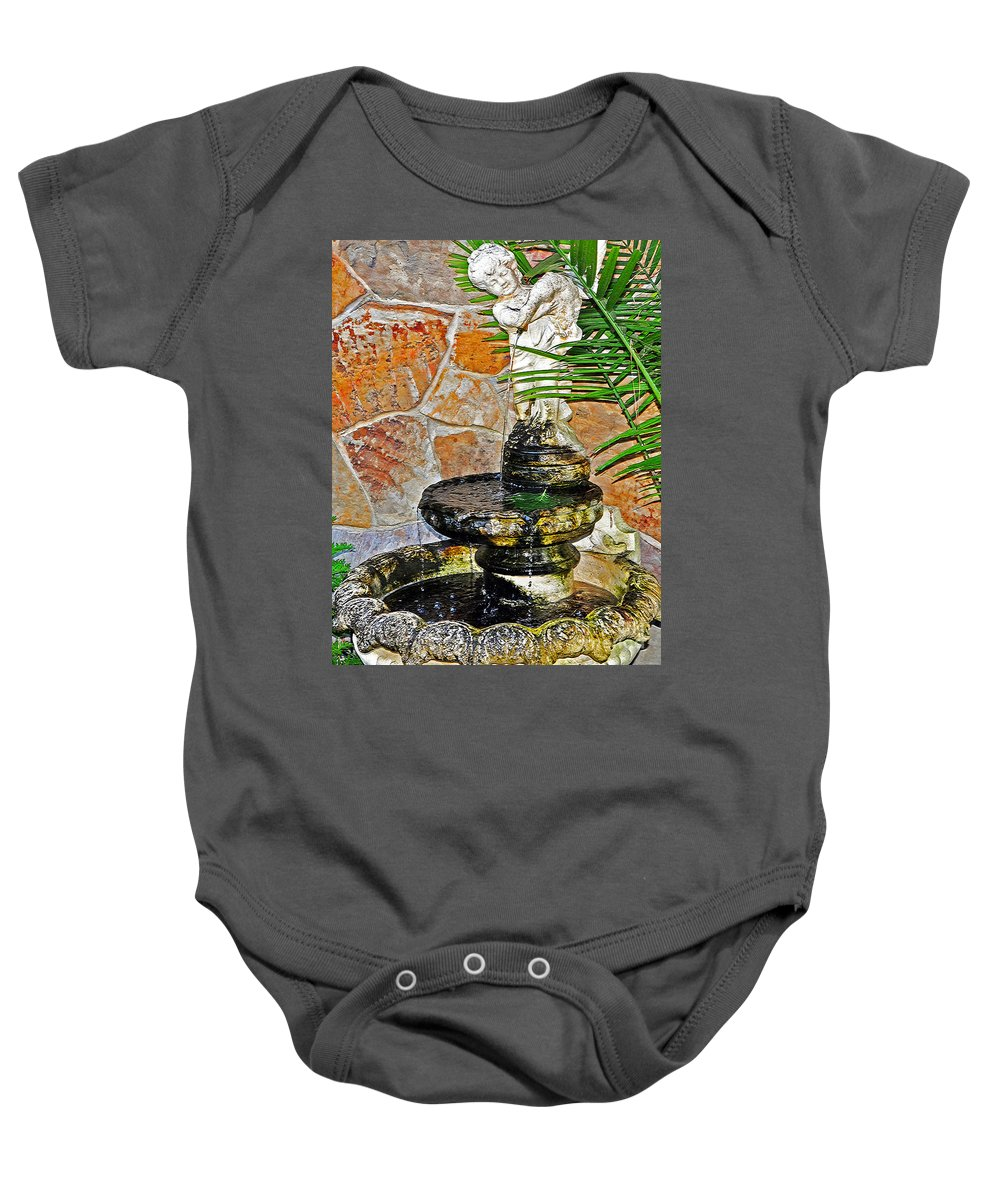 Fountain Baby Onesie featuring the photograph Fountain Of Friendship by Lydia Holly
