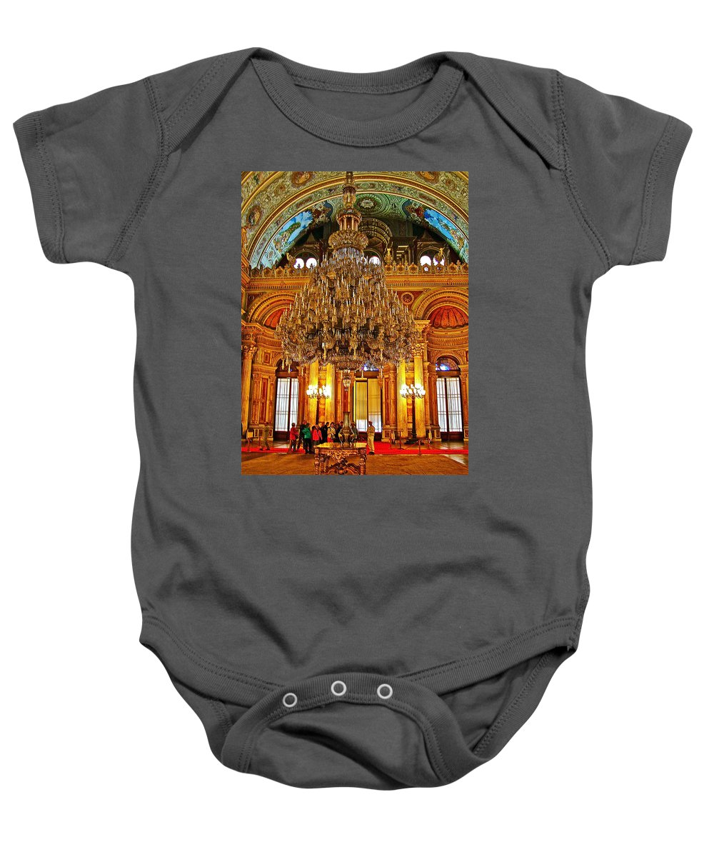 Four And One-half Ton Crystal Chandelier In Ceremonial Hall In Dolmabache Palace In Istanbul Baby Onesie featuring the photograph Four And One-half Ton Crystal Chandelier In Ceremonial Hall In Dolmabache Palace In Istanbul-turkey by Ruth Hager