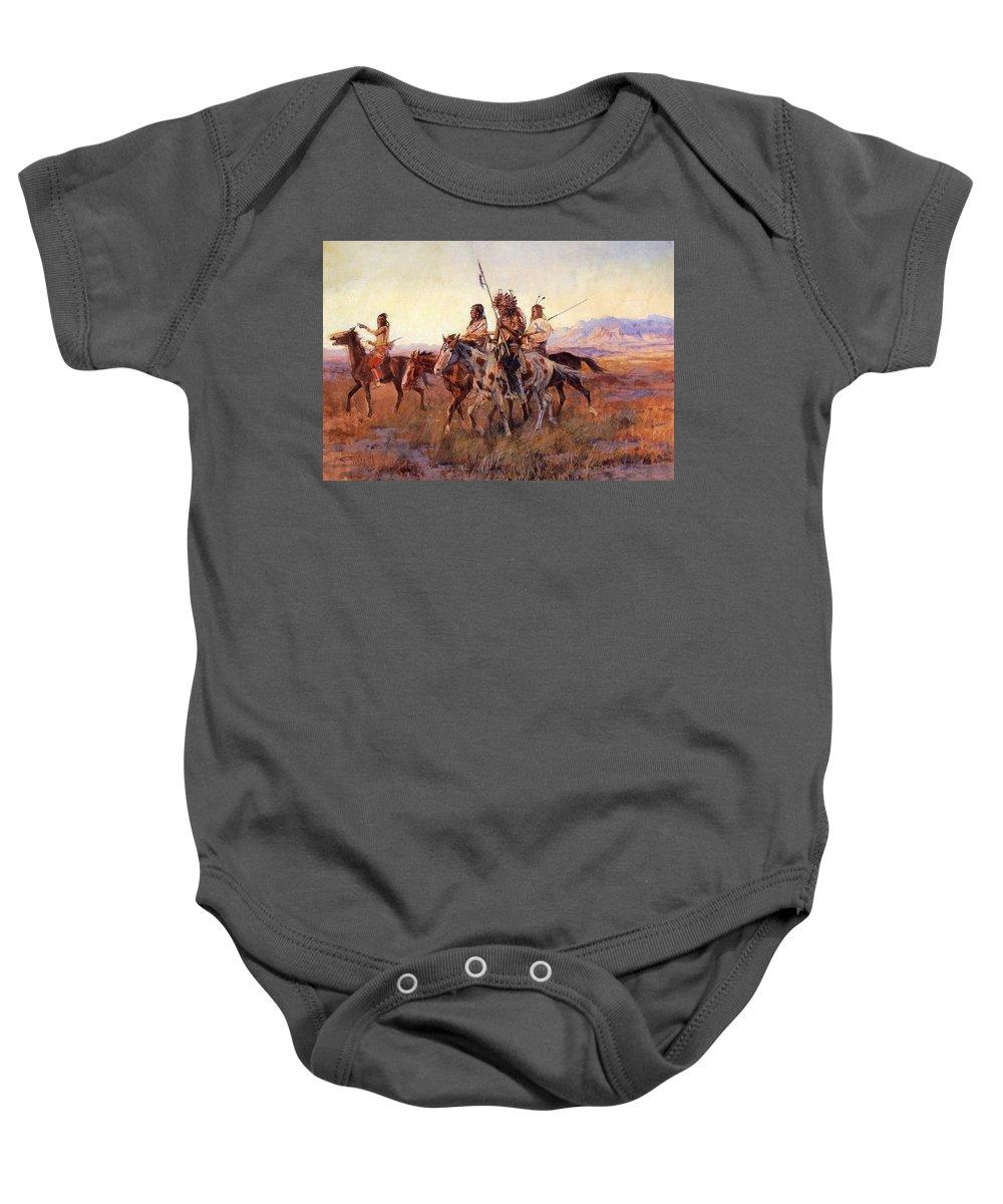 Charles Russell Baby Onesie featuring the digital art Four Mounted Indians by Charles Russell