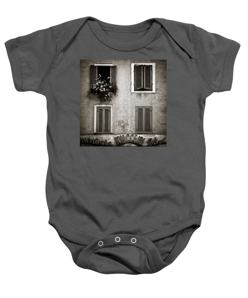 Rome Baby Onesie featuring the photograph Four Windows by Dave Bowman