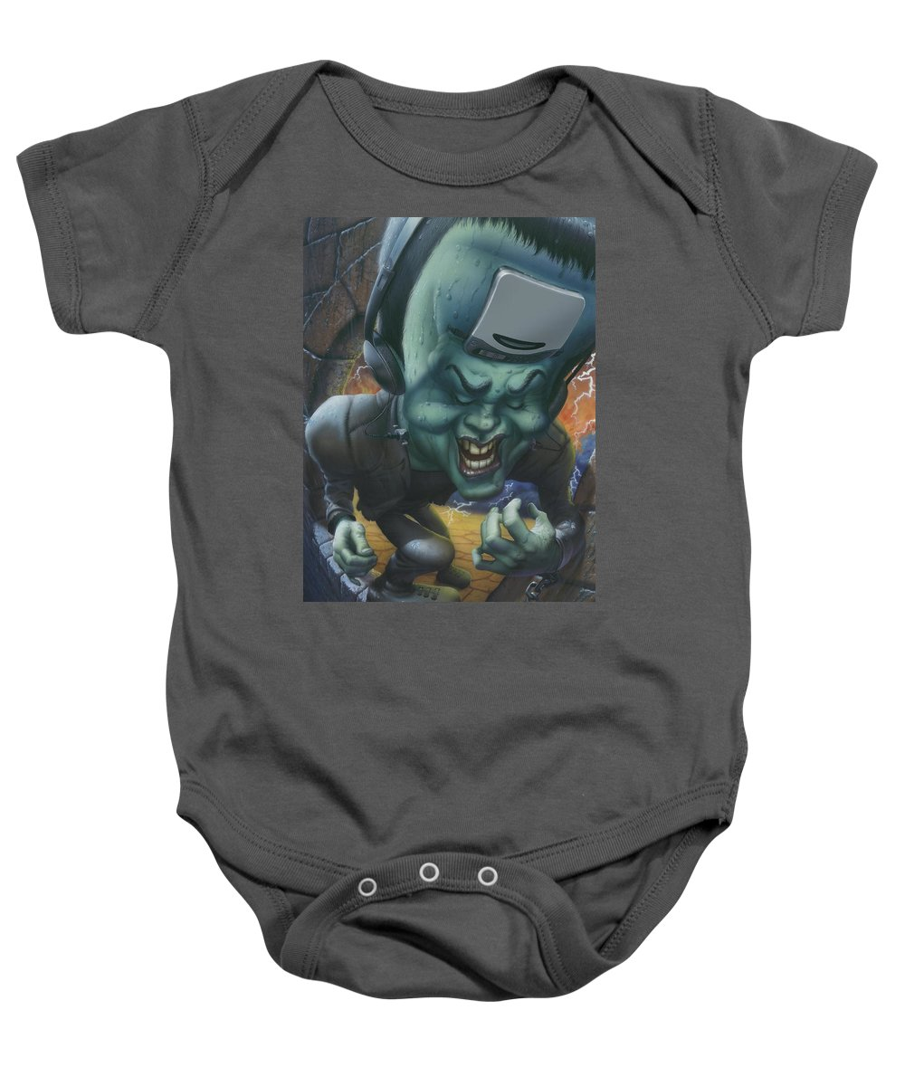 Frankinstein Baby Onesie featuring the painting Frankinstein Playing The Air Guitar - Parody - Illustration - Monster Monsters - Humorous by Walt Curlee