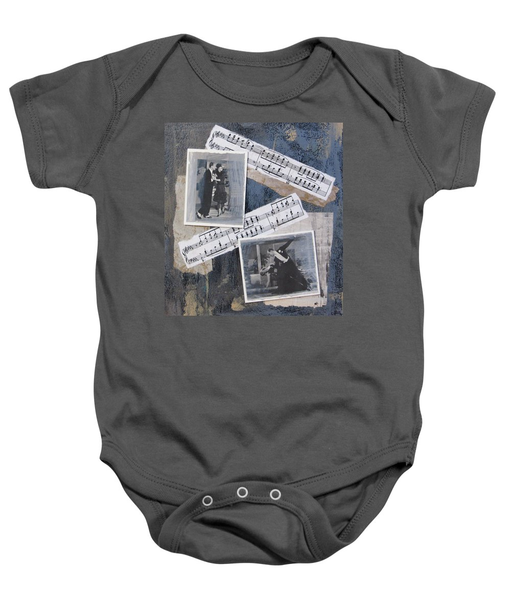 Photos Baby Onesie featuring the mixed media Fred And Ginger Collage by Anita Burgermeister