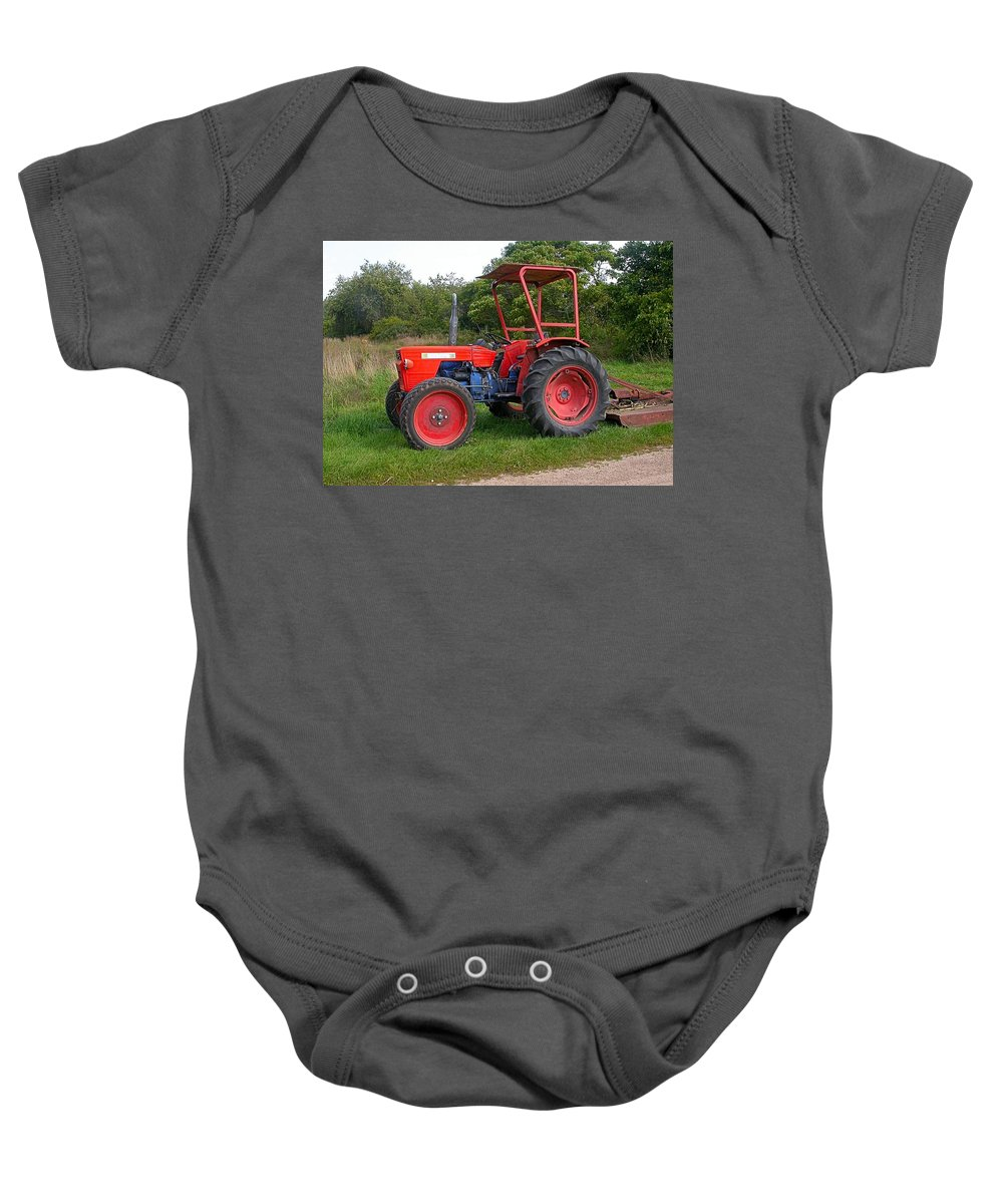 Farm Tractor Baby Onesie featuring the photograph Free Parking by Cynthia Wallentine