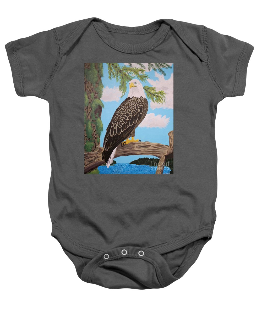 Bald Eagle Baby Onesie featuring the painting Freedom's Pride by Vicki Maheu