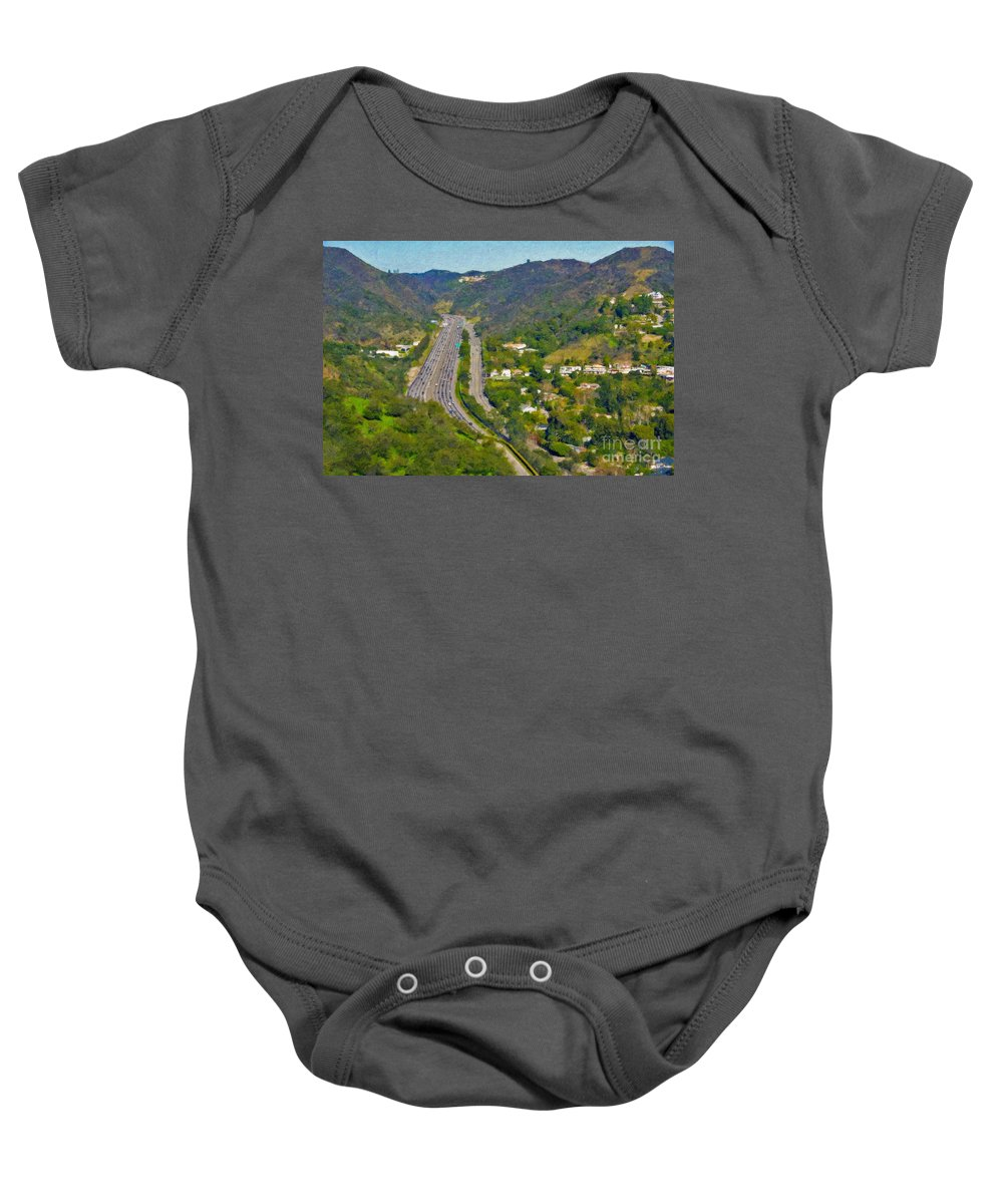 L-405 Sepulveda Pass Traffic Bel Air Crest California Baby Onesie featuring the photograph Freeway Sepulveda Pass Traffic Bel Air Crest California by David Zanzinger
