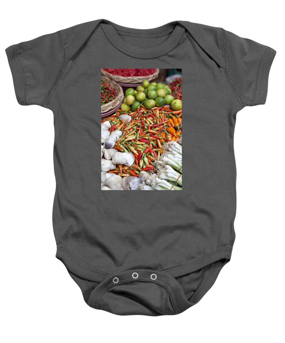 Thailand Baby Onesie featuring the photograph Fresh Chili Peppers by Sophie McAulay