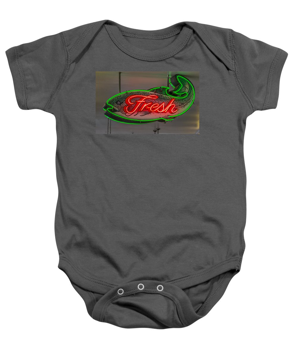 Sign Baby Onesie featuring the photograph Fresh Fish by Scott Campbell