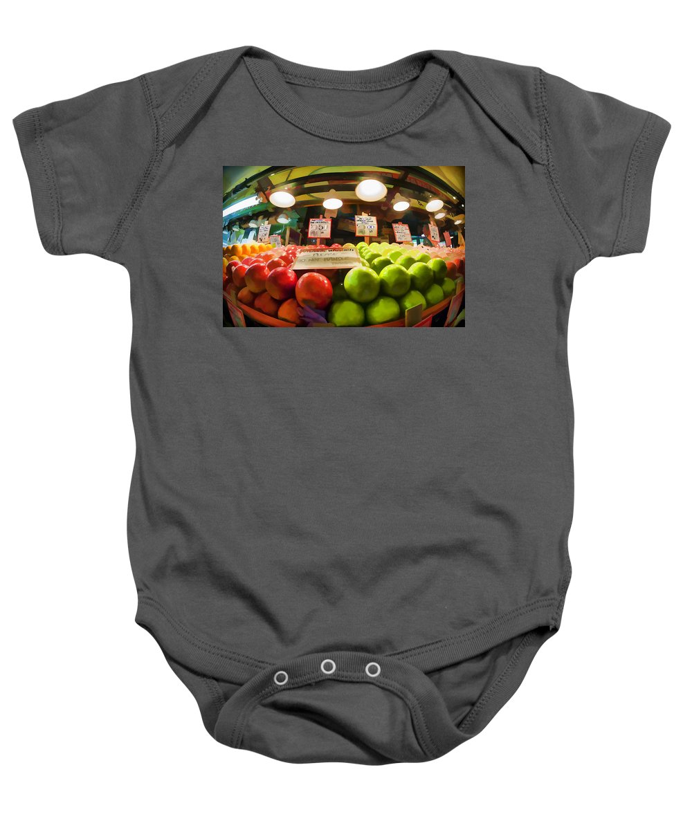 Market Baby Onesie featuring the photograph Fresh Pike Place Apples by Scott Campbell