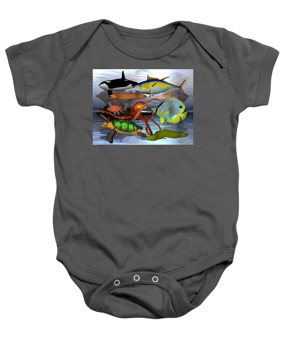 Sea Baby Onesie featuring the digital art Friends Of The Sea by Betsy Knapp