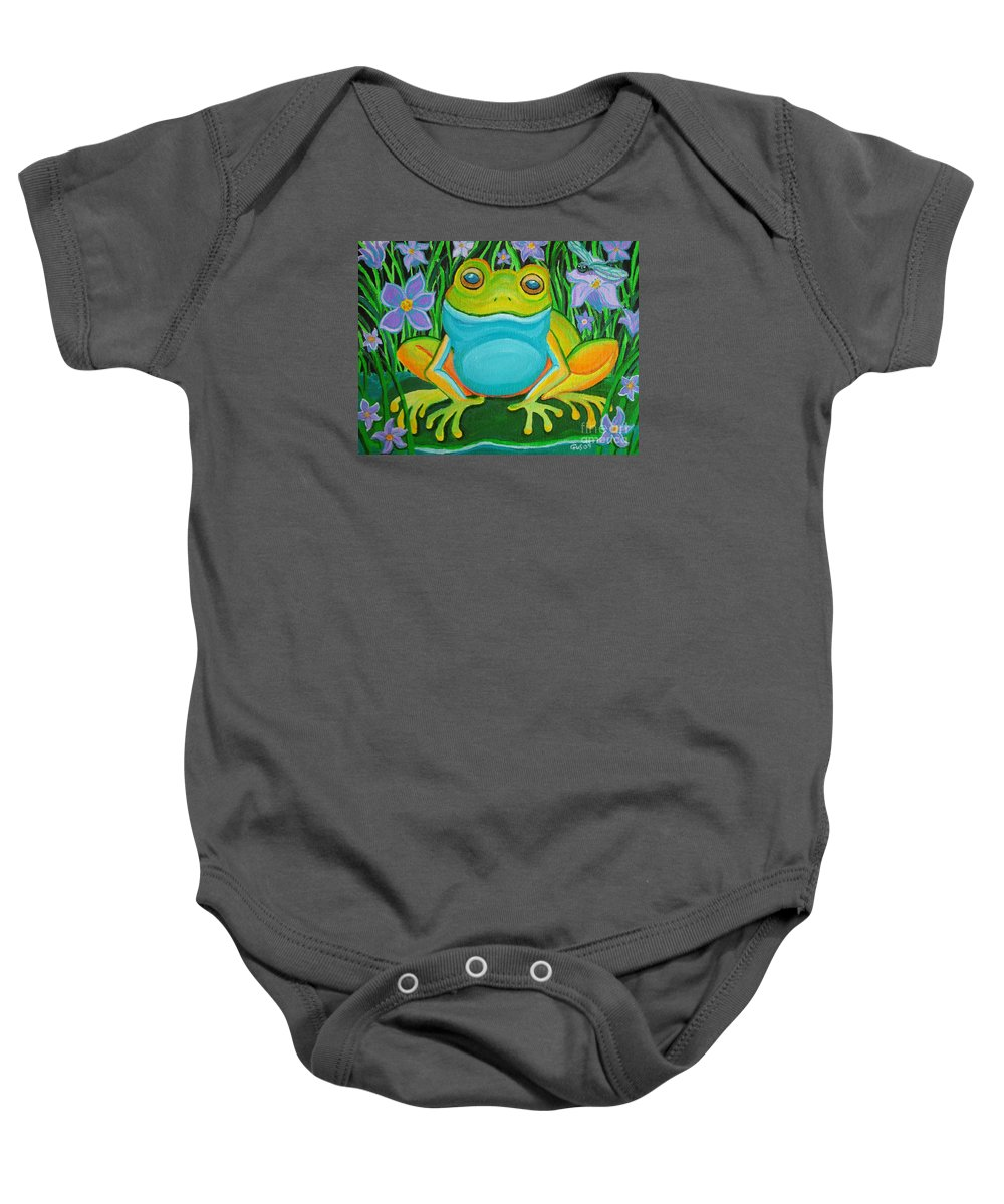 Ffrog Art Baby Onesie featuring the painting Frog On A Lily Pad by Nick Gustafson