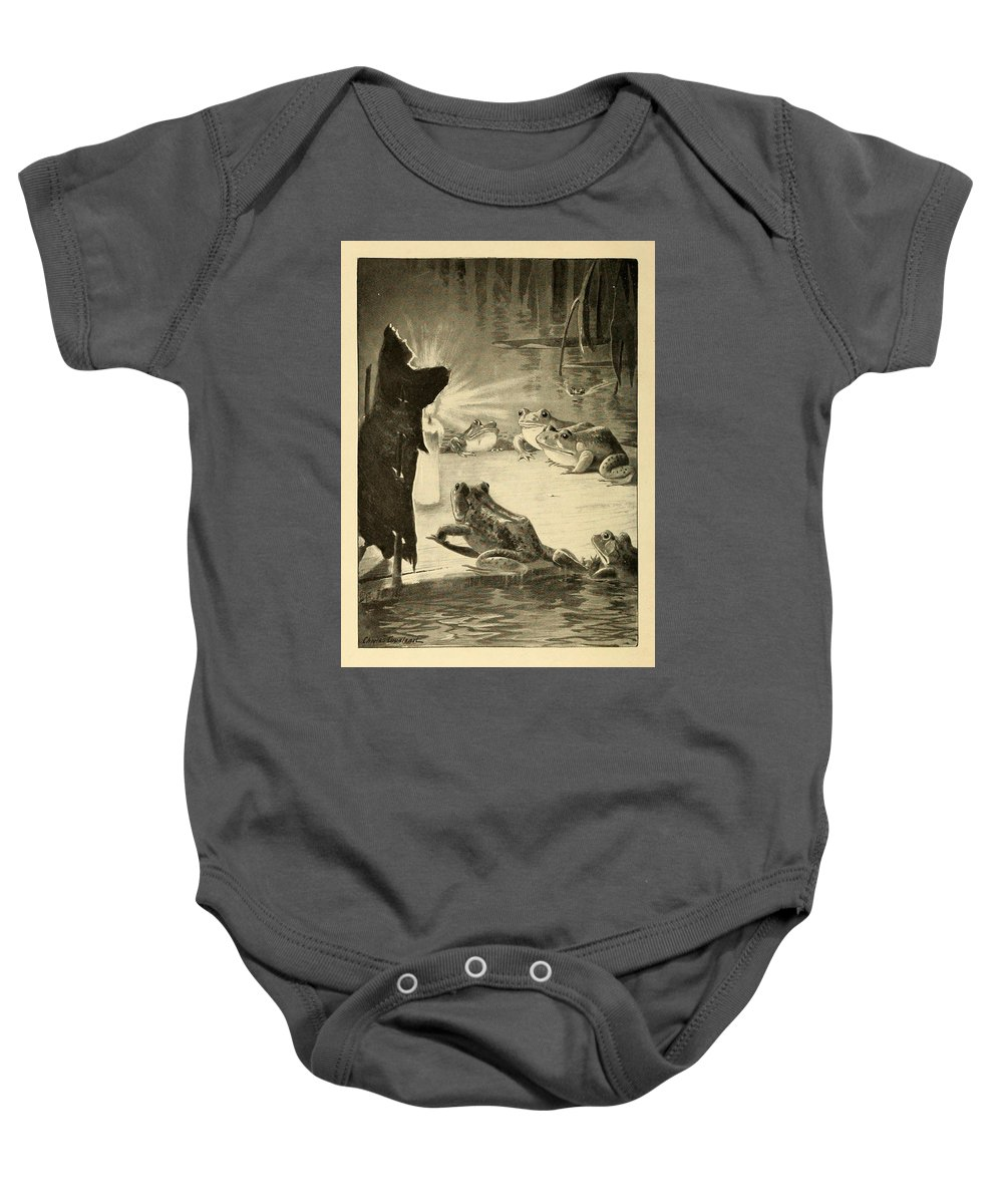 Frogs Baby Onesie featuring the painting Frogs And Candle by Philip Ralley