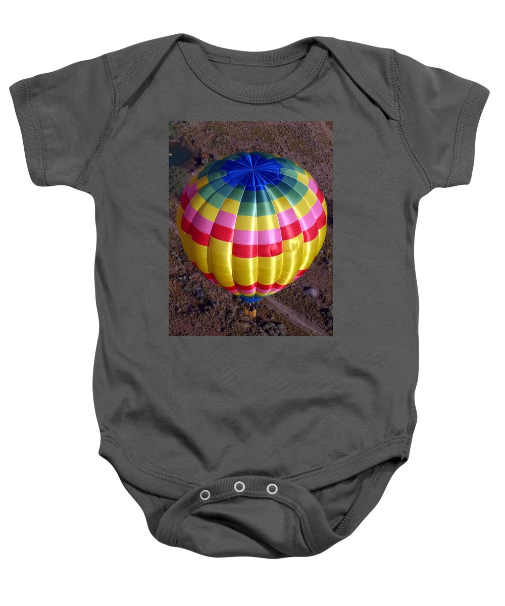 Hot Air Balloon Baby Onesie featuring the photograph From Above by Mary Rogers