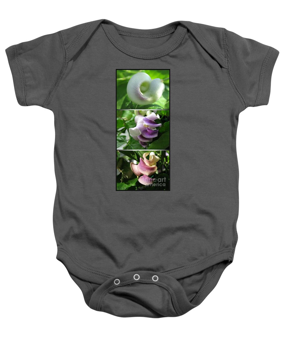 Phaseolus Caracalla Baby Onesie featuring the photograph From Bud To Bloom - Phaseolus Caracalla by J McCombie