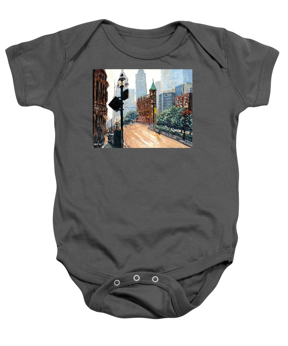 Toronto Baby Onesie featuring the painting Front And Church by Ian MacDonald