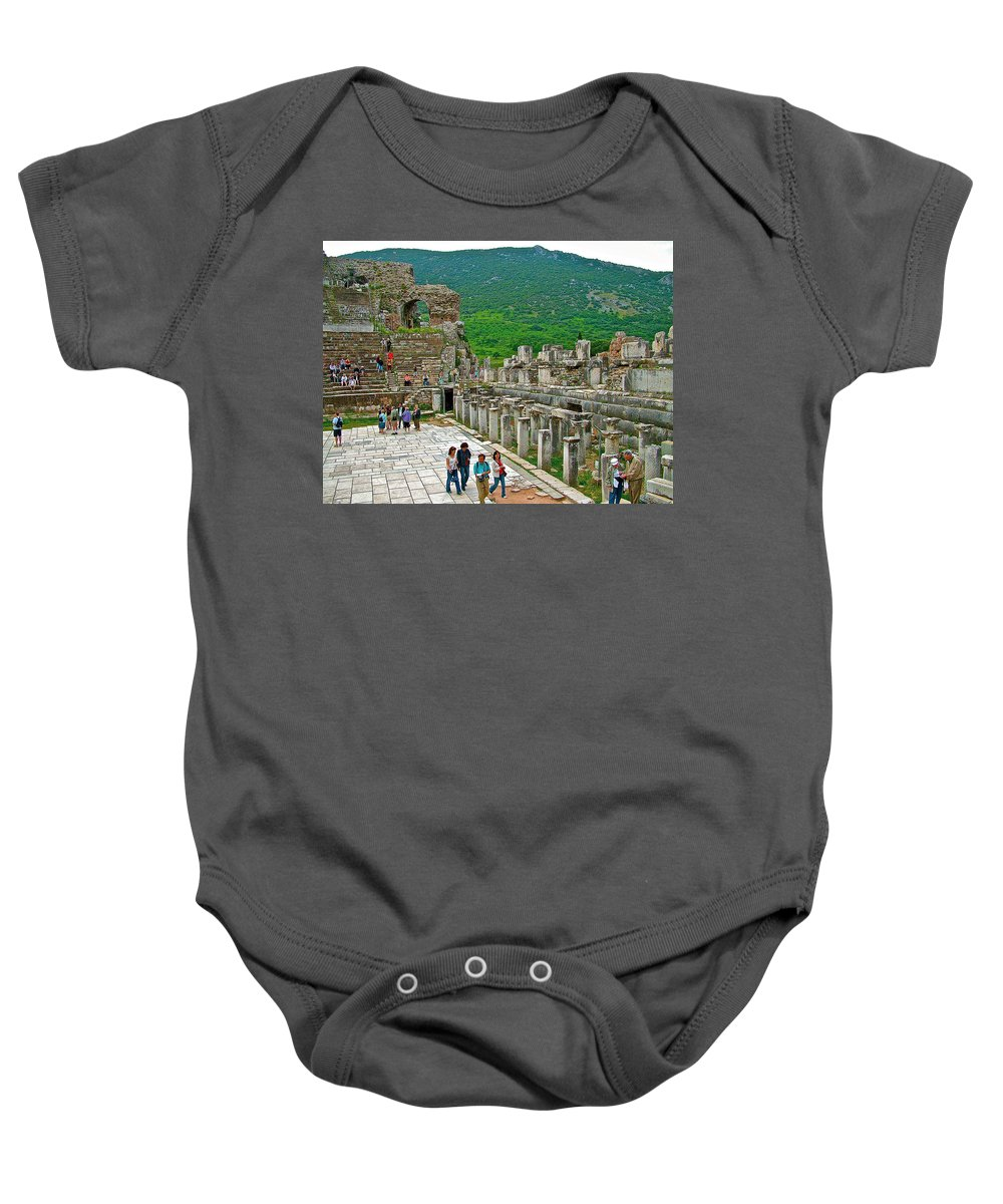 Front Of Theater In Ephesus Baby Onesie featuring the photograph Front Of Theater In Ephesus-turkey by Ruth Hager