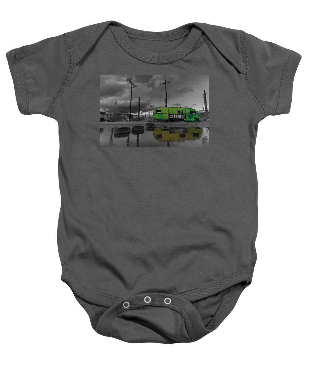 Airstream Baby Onesie featuring the photograph Front Yard Path Black And White by Scott Campbell