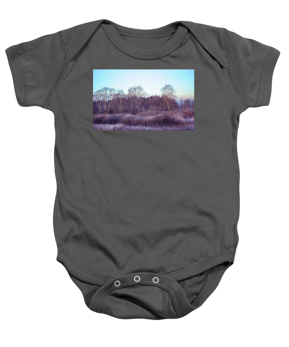Russia Baby Onesie featuring the photograph Frosty Purple Morning In Russia by Jenny Rainbow