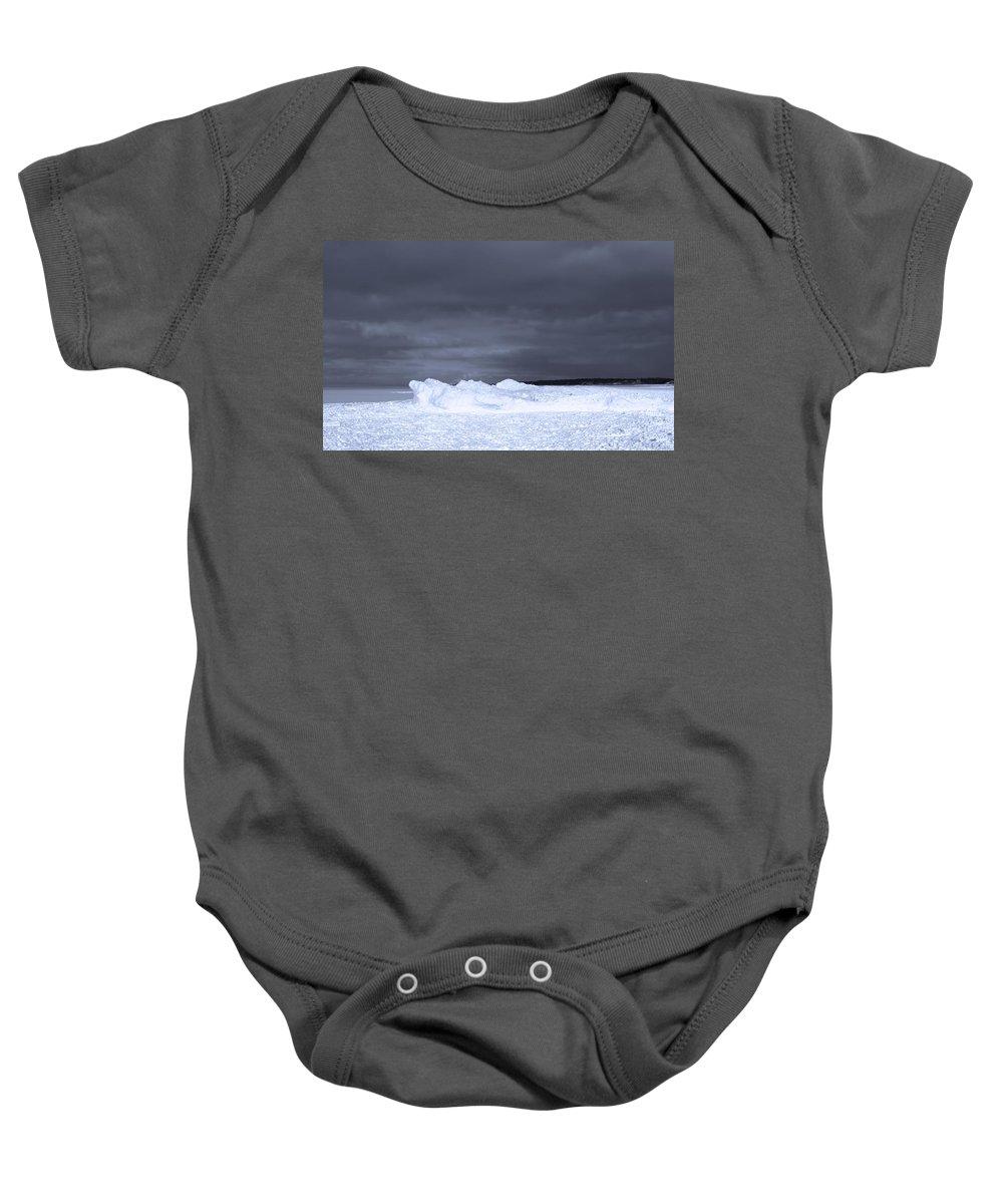 Frozen Wave On Lake Michigan Baby Onesie featuring the photograph Frozen Wave On Lake Michigan by Dan Sproul