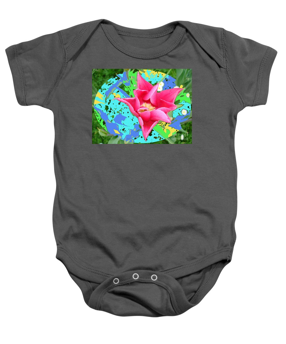 Colored-background Baby Onesie featuring the photograph Fuchsia Tulip By M.l.d. Moerings 2012 by Marion Moerings