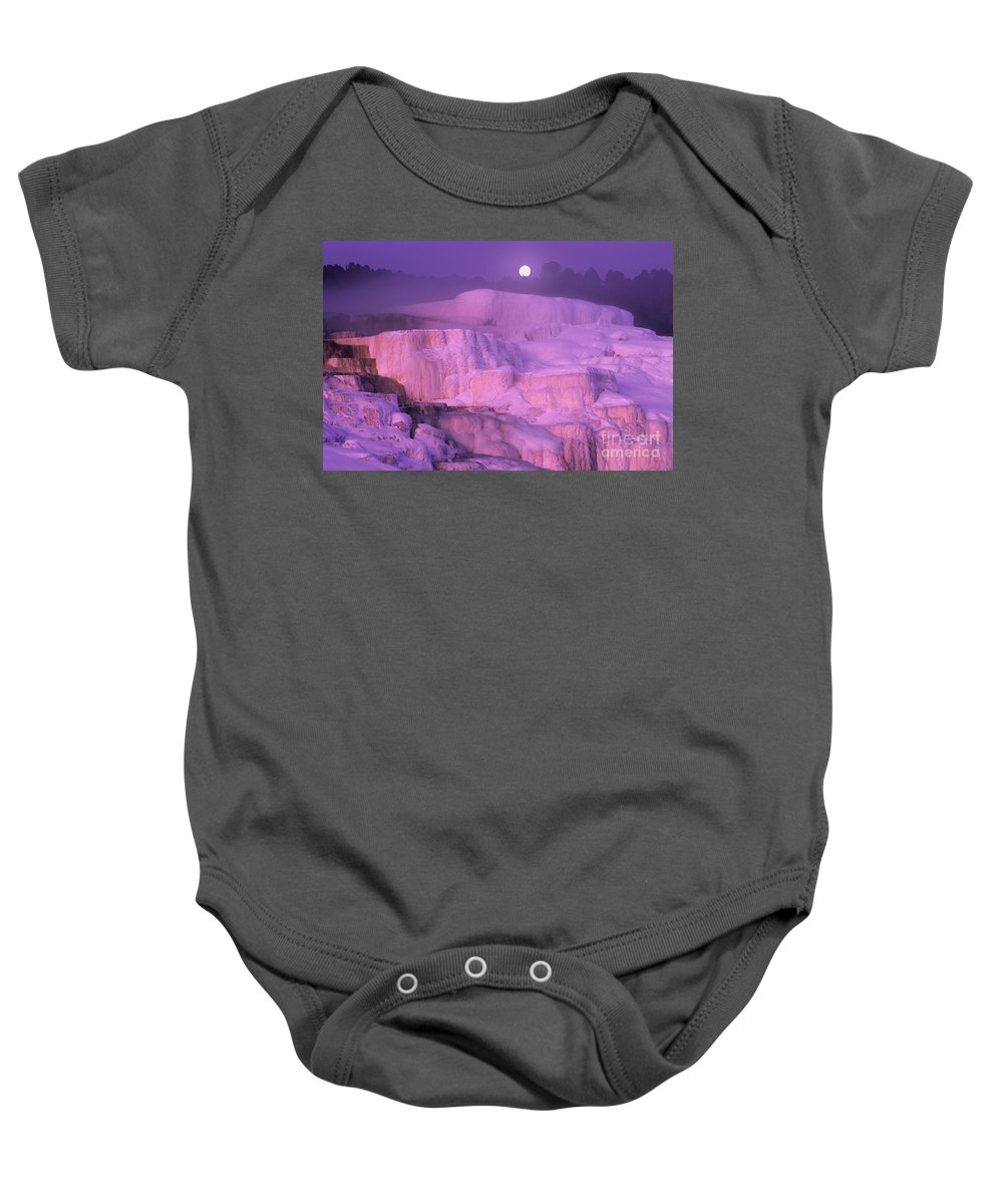 North America Baby Onesie featuring the photograph Full Moon Sets Over Minerva Springs On A Winter Morning Yellowstone National Park by Dave Welling