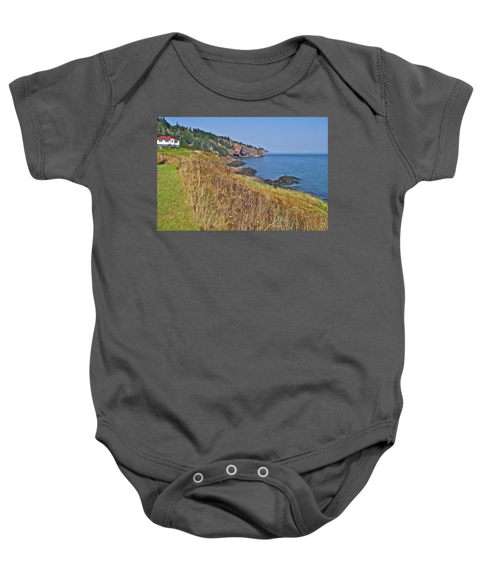 Fundy Bay Coastline Near Cliffs Of Cape D'or Baby Onesie featuring the photograph Fundy Bay Coastline Near Cliffs Of Cape D'or-ns by Ruth Hager