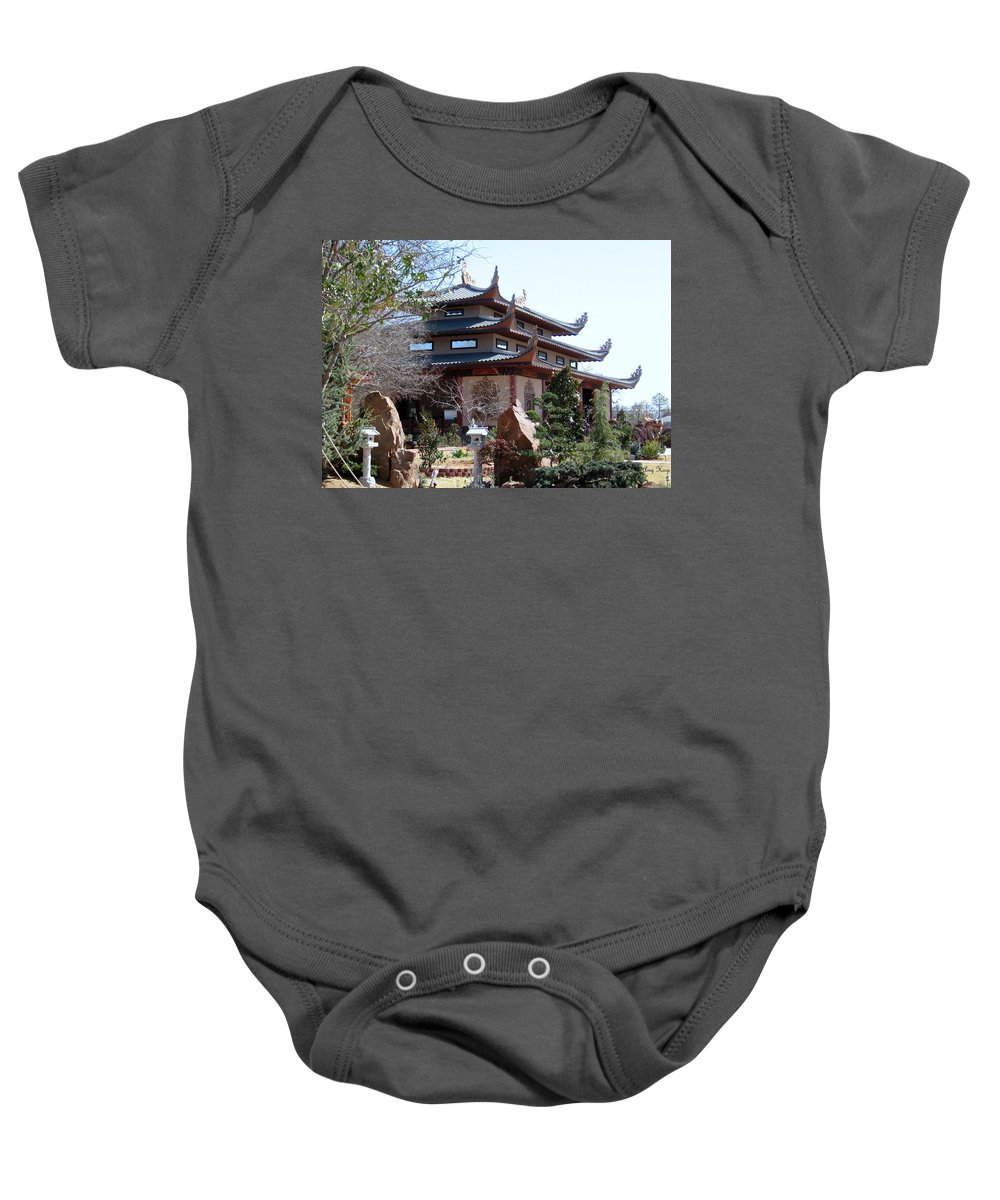 Temple Baby Onesie featuring the photograph Garden At The Temple In Grand Prairie Texas by Amy Hosp